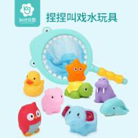 宝宝洗澡玩具抖音套装儿童戏水小黄鸭小乌龟鸭子婴儿游泳池男女孩