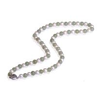 梦克拉925银和田玉珍珠项链 韵味 和田玉碧玉珍珠链 玉石银玉器珠宝链子 女款 可礼品卡购买