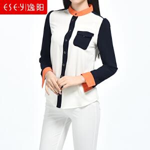 2018秋季新款百搭撞色拼接雪纺轻薄长袖衬衫衬衣上衣女0242