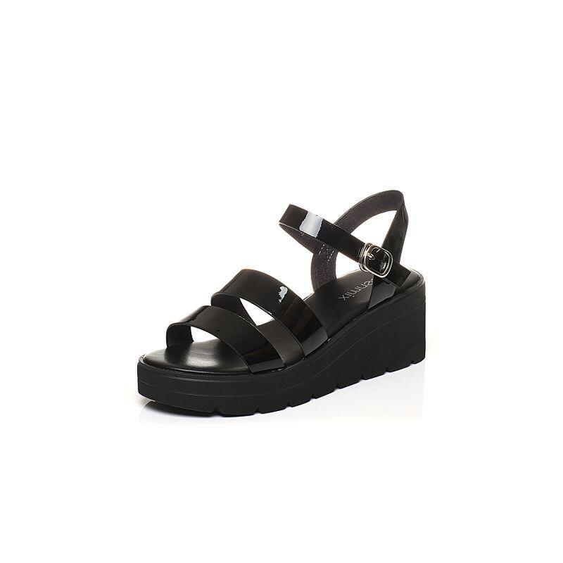 Teenmix/天美意2017夏专柜同款镜面条带简约女凉鞋AO971BL7