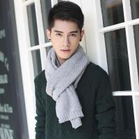 冬天保暖纯色简约商务男士青年休闲毛线围巾韩版百搭灰色学生加厚