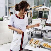 小香气质套装裙潮 夏季新品镶边短袖T恤双排扣开叉半身裙显瘦女