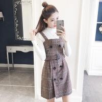 毛呢连衣裙女两件套2018秋冬新款韩版时尚气质收腰显瘦格子背带裙
