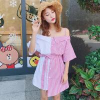 夏季新款女装韩版性感一字领露肩拼色吊带裙一排扣短袖条纹连衣裙 均码