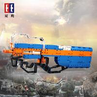 双鹰C81003咔搭积木枪 军事系列P90冲峰枪 益智拼装对战玩具模型