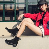 玛菲玛图短靴女春秋单靴子2020新款中跟后系带短筒百搭学生女靴chic弹力靴13557-3