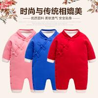 七八个月宝宝衣服女婴儿连体衣秋冬保暖薄棉加棉周岁礼服男童唐装