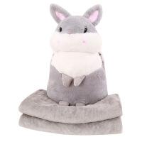 三合一手捂毯子兔公仔毛绒玩具暖手宝批发午睡抱枕空调被 灰 1X1.7M