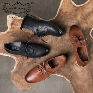 玛菲玛图低跟单鞋女秋季新款深口圆头平底鞋英伦复古学院风系带真皮鞋3988-2