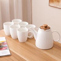 家用套装创意陶瓷北欧风杯具整套简约花茶茶具 一壶六杯