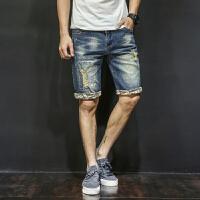 破洞牛仔短裤男士夏季薄潮流5分中裤复古弹力宽松五分裤子大码夏天 蓝色