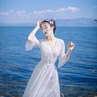 海边度假连衣裙女网纱亚蕾丝长裙夏季休闲显瘦沙滩裙