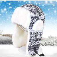 冬季加厚保暖骑车 雪花雷锋帽男女情侣 护耳帽潮滑雪帽