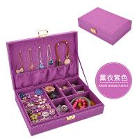 首饰盒 欧式公主木质带锁饰品盒 绒布手饰品收拾收纳盒生日礼物大