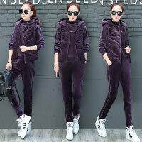 加厚加绒卫衣三件套女冬季金丝绒外套时尚休闲装运动套装 3X