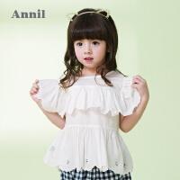 【3件3折:59.7】安奈儿童装女童镂空绣花圆领短袖上衣夏装新款