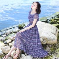 夏季新品女装短袖中长裙子雪纺连衣裙波西米亚海边度假沙滩裙 图片色X551