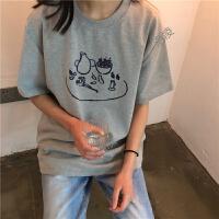 夏季韩国ins风咖啡印花复古宽松显瘦上衣学生百搭磨毛短袖T恤女