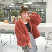 2018春秋新款女装韩版宽松短款外套学生显瘦长袖保暖毛毛开衫潮 均码