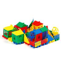 家园塑料积木儿童玩具宝宝过家家小房子别墅拼装 袋装 80粒
