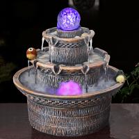 假山流水喷泉盆景办公室桌面加湿器装饰品招财风水轮八方来财摆件