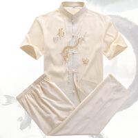夏季中老年棉麻唐装男短袖中式大码爸爸装亚麻衬衣老人爷爷夏套装