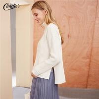 拉夏贝尔白色针织衫女士新款韩版宽松毛衫百搭长袖打底套头毛衣