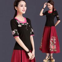 中国风女装夏装民族风上衣 刺绣短袖T恤女半袖大码显瘦绣花打底衫