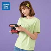 真维斯女装 纯棉圆领印花短袖T恤