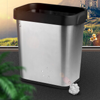 欧润哲 客厅卧室不锈钢砂光脚踏垃圾桶 厨房卫生间厕所家用垃圾桶收纳桶