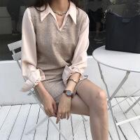 秋装2018新款温柔风气质纯色衬衫套装女时尚毛呢背心连衣裙两件套