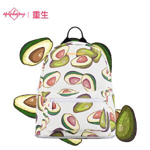 【支持礼品卡支付】Epiphqny重生新款韩版双肩包潮流校园迷你白色果实时尚背包