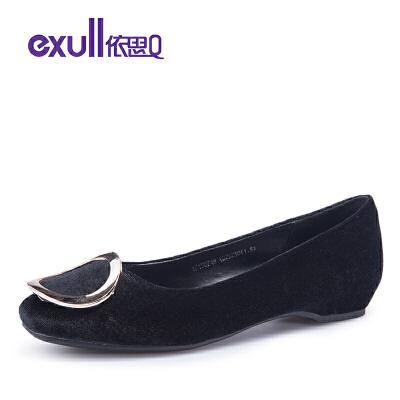 依思Q单鞋金属饰扣方头套脚平底鞋子绒面女鞋子