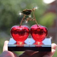 经典水晶樱桃摆件汽车时尚香水座车内创意装饰品车上用品车载摆件 LOVE 大红