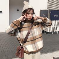 秋冬女装韩版宽松短款格子加厚套头卫衣外套短款学生百搭长袖上衣