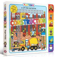 【全店300减100】英文原版绘本Playtown: Construction 建筑施工 儿童纸板翻翻书边玩边学幼儿启蒙