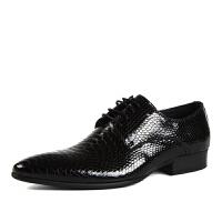 DAZED CONFUSEDU 蟒蛇纹男士尖头皮鞋 英伦商务正装漆皮男鞋子 亮皮单鞋潮鞋男