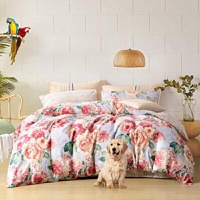 【春节不打烊 年货直降】富安娜出品 圣之花家纺清新温暖床上用品套件 加厚纯棉磨毛四件套