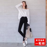 打底裤女外穿薄款2018秋季新款韩版高腰显瘦黑色铅笔小脚长裤子女