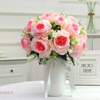 仿真玫瑰花束套装花艺家居摆设欧式绢花客厅餐桌摆件盆栽