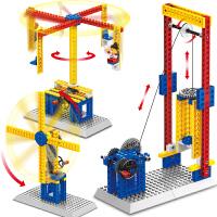 万格拼装教学机械组手动积木儿童玩具旋转木马风车电梯升降机