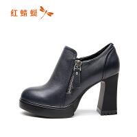 红蜻蜓女鞋粗跟高跟鞋2018新款秋季休闲皮鞋真皮性感时尚正品单鞋