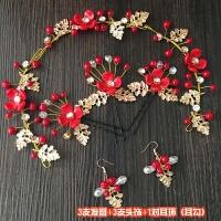 2018新款韩式新娘头饰耳环红色饰品三件套中式结婚敬酒服花朵发饰
