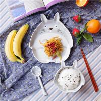 餐具套装龙猫三件套碗盘卡通家用餐具中国风单人碗碟套