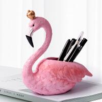 创意北欧火烈鸟笔筒时尚眉笔化妆刷收纳摆件可爱桌面办公室收纳盒 火烈鸟笔筒