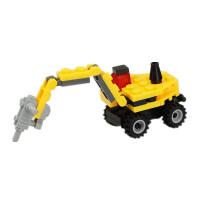 积木 儿童拼装玩具机器人男孩幼儿园4-5-6-7-8岁礼物 黄色 钻孔车8047