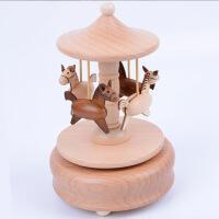 20190701234304720木头音乐盒八音盒木质工艺品创意父亲节生日礼物旋转木马家居摆件 原色 YP1502