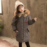 乌龟先森 棉服 女童长袖大毛领中长款拉链衫冬季新款韩版儿童时尚休闲舒适百搭中大童外套