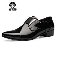 米乐猴 潮牌男尖头皮鞋发型师英伦漆皮男鞋子韩版潮流日常休闲皮鞋春时尚单鞋男鞋