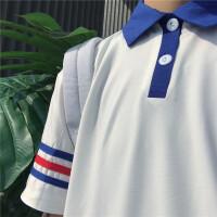 夏装polo衫色短袖T恤情侣翻领三杠宽松男女打底衫学生上衣班服